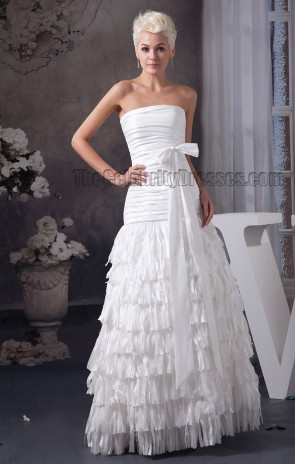 Floor Length Strapless A-Line Bridal Gown Wedding Dress