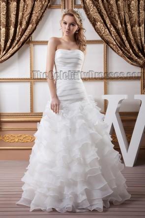 Floor Length Strapless A-Line Ruffles Wedding Dresses