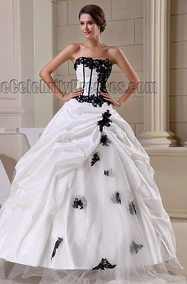 Floor Length Strapless Ball Gown Taffeta Wedding Dress