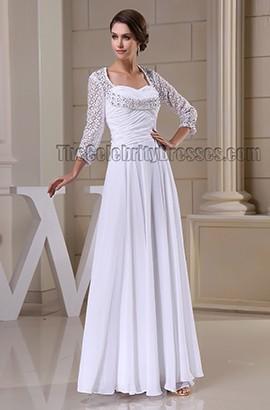 Floor Length White Long Sleeve Prom Gown Evneing Formal Dress