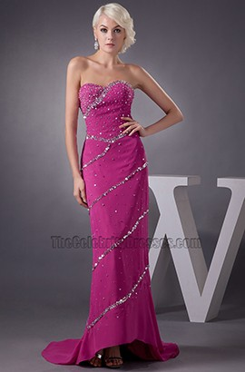 Fuchsia Strapless Formal Dress Prom Gown With Beadwork