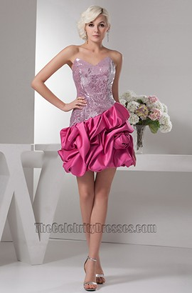 Chic Fuchsia Strapless Silver Sequins Party Cocktail Dresses