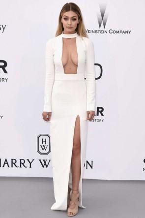 Gigi Hadid - Robe de Soirée Sexy à Manches Longues Ivoire 2015 AmfAR