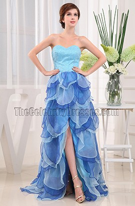 Blue Strapless A-Line Prom Gowns Formal Dresses