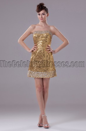 Gold Mini Sequins Strapless Party Cocktail Dresses