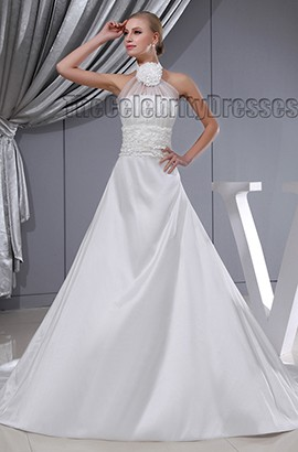 Gorgeous A-Line Halter Chapel Train Wedding Dresses