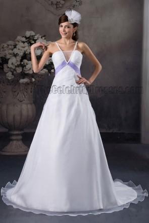 Gorgeous A-Line Spaghetti Straps Chapel Train Wedding Dresses