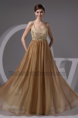 Brown Spaghetti Straps Lace Formal Dress Evening Gown