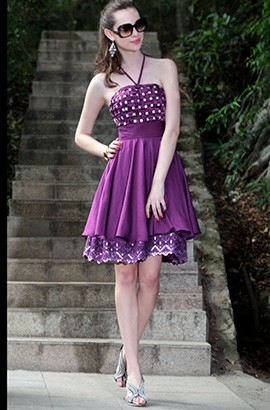 Gorgeous Purple Halter A-Line Cocktail Graduation Dresses