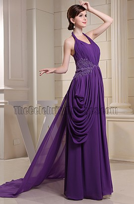 Regency Halter Chiffon Prom Gown Formal Evening Dresses