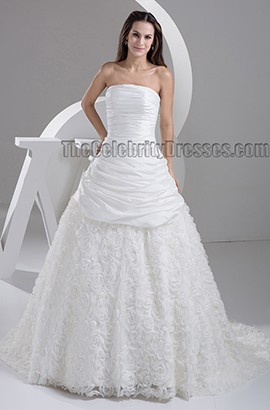 Gorgeous Strapless A-Line Sweep/Brush Train Wedding Dress With A Wrap