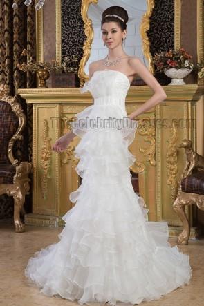 Gorgeous Strapless Organza Beaded Chapel Train Wedding Dresses