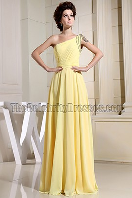 Gorgeous Daffodil One Shoulder Evening Dress Prom Gown