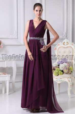 Grape V-Neck Prom Gown Evening Bridesmaid Dresses