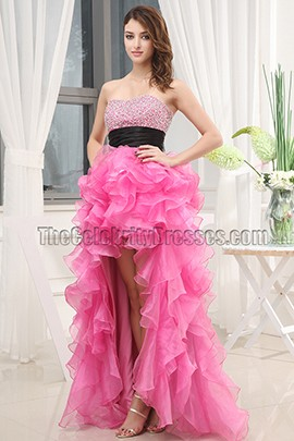 Celebrity Inspired Hi-Low Strapless Formal Dress Prom Gown
