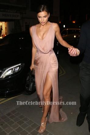 Irina Shayk Rose sans manches perlée robe de soirée robe de bal