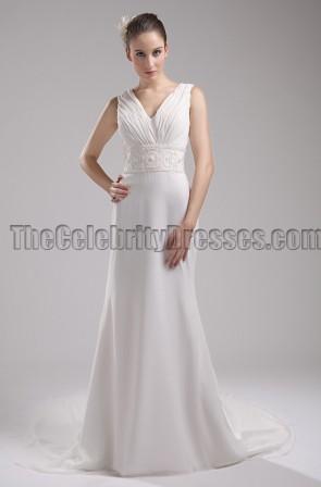 New Style Ivory V-Neck Informal Wedding Dress Evening Gown