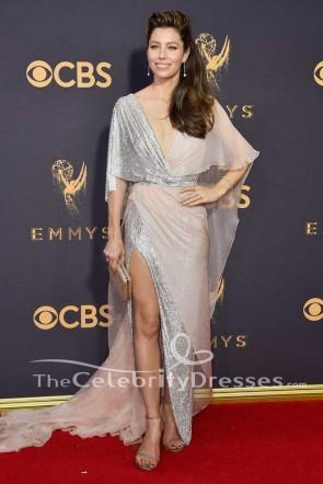 Jessica Biel - Robe de soirée longue fendue 2017 Emmy Awards - Robe de mariée rouge