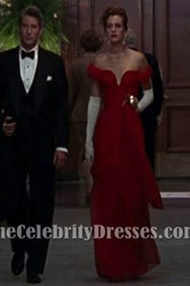 Julia Roberts Red Evening Prom Dress in  'Pretty Woman'
