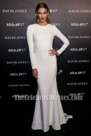 Karlie Kloss blanc ras du cou manches longues dos nu soirée dress formelle
