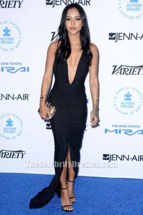 Karrueche Tran Noir Backless robe de soirée autisme parle à LA Celebrity Chef Gala