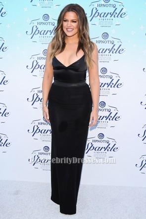 Robe de soirée noire Khloe Kardashian Robe de soirée noire HPNOTIQ