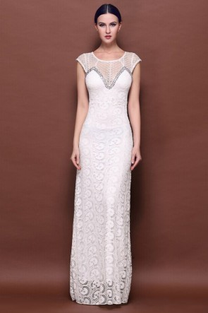 White Floor Length Lace Evening Gown Prom Dresses TCDMM002