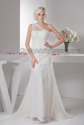 Lace One Shoulder Beaded Sweep Brush Train Wedding Dresses