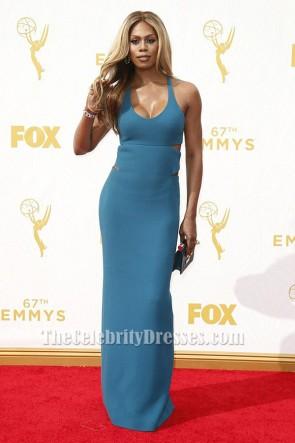 Laverne Cox bleu robe de soirée dos nu 2015 Emmys tapis rouge