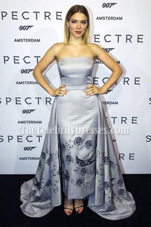 Lea Seydoux robe sans bretelles en argent Premiere Spectre Amsterdam