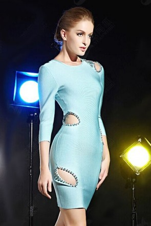 Light Sky Blue Beaded Cut Out Bandage Cocktail Party Dress TCD5904