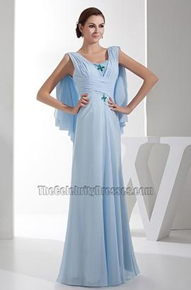 Full Length Light Sky Blue Chiffon Prom Gown Evening Dresses