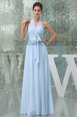 Light Sky Blue Halter Floor Length Prom Gown Evening Dress