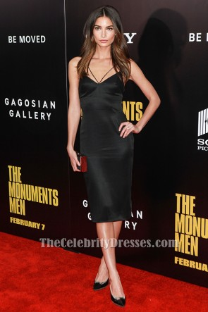 Lily Aldridge au genou robe de cocktail longueur The Monuments Men première