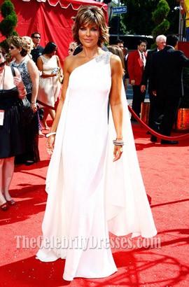 Lisa Rinna White One Shoulder Prom Dress 2008 Primetime Emmy Awards Red Carpet