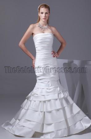 Discount Mermaid Strapless Chapel Train Wedding Dresses