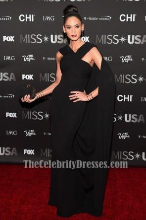 Miss Univers 2015 Pia Wurtzbach 2016 Miss USA pageant robe noire robe de soirée