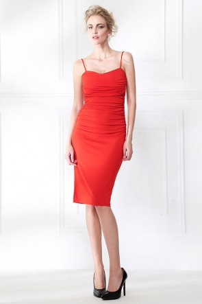 Celebrity Inspired Orange Red Spaghetti Straps Cocktail Dress TCDMU0052