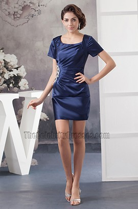 Navy Blue Short Sleeve Party Graduation Homecoming Dresses
