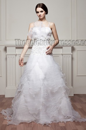 New Design Spaghetti A-Line Ruffles Floor Length Wedding Dress