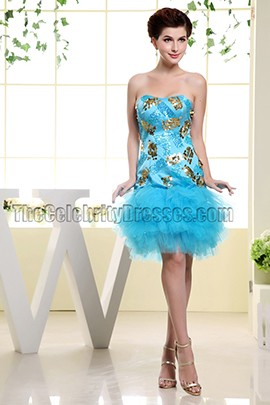 Cute Blue Strapless Sequined Cocktail Party Dresses