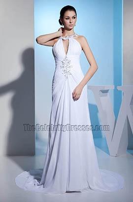 New Style Chiffon Chapel Train Wedding Dress With Beadwork