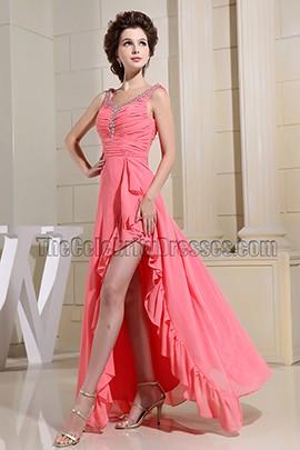 Watermelon Chiffon Beaded Prom Dress Evening Dresses