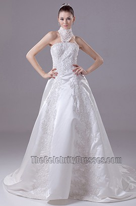 New Style Halter High Neck A-Line Embroidery Wedding Dresses