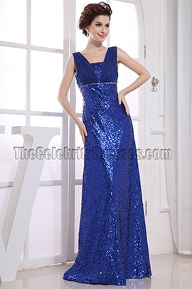 Royal Blue Sequined Evening Gowns Formal Prom Dresses