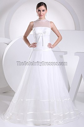 New Style Tulle A-Line Chapel Train Wedding Dress