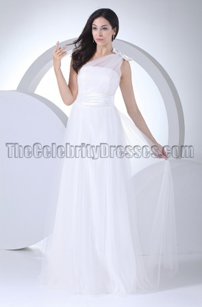 Floor Length Tulle One Shoulder Wedding Dresses