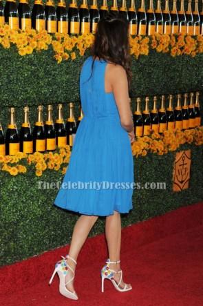 Nina Dobrev bleu cocktail robe de soirée 6e annuelle Veuve Clicquot Polo classique