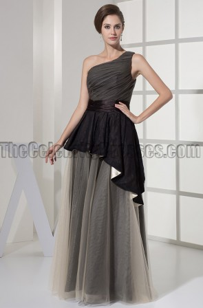 One Shoulder A-Line Tulle Prom Gown Formal Dress
