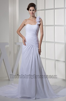 One Shoulder Chiffon A-Line Informal Wedding Dress